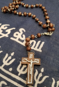 Dark Brown Wood Bead and Silver Traditional Rosary