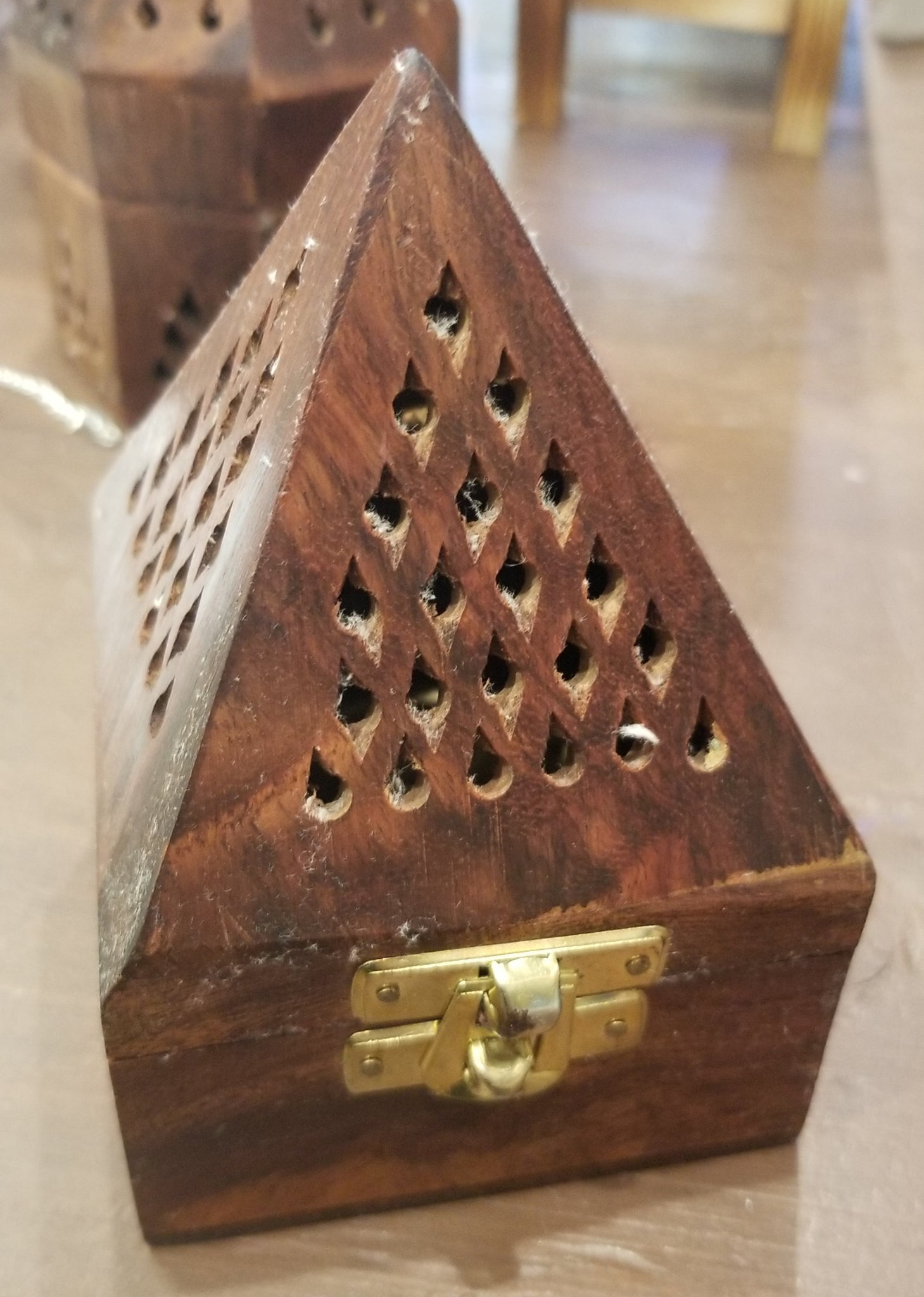 Square Wood Incense Burner Cone