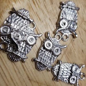 Brass silver finish Owl 1 inch Charm