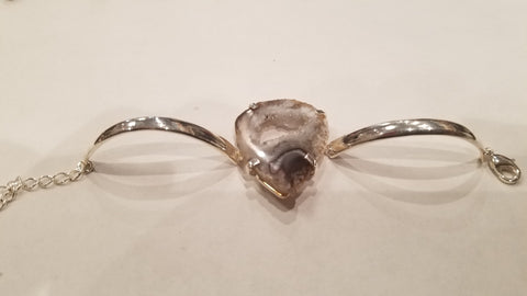 Slab Quartz Center Silver Bracelet