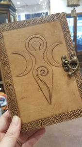 Triple moon goddess leather bound clasped journal