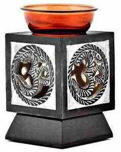 "Om Glass top Carved Stone Aroma Lamp Burner 5.25"" H"