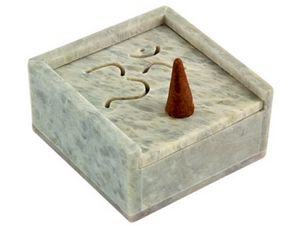 "Om Symbol Carved Cone Burner with Storage - 3""x3""x1.5"