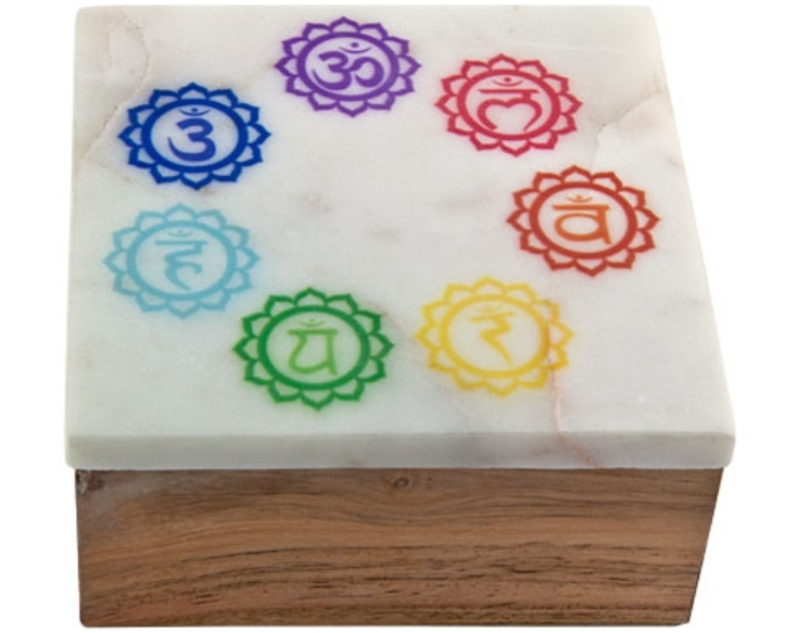 Chakra Symbol Top Marble Lid Wooden box
