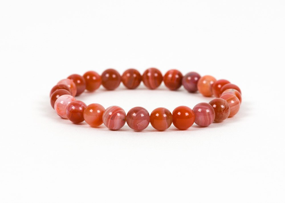 Natural Red Agate Beaded Healing Bracelet