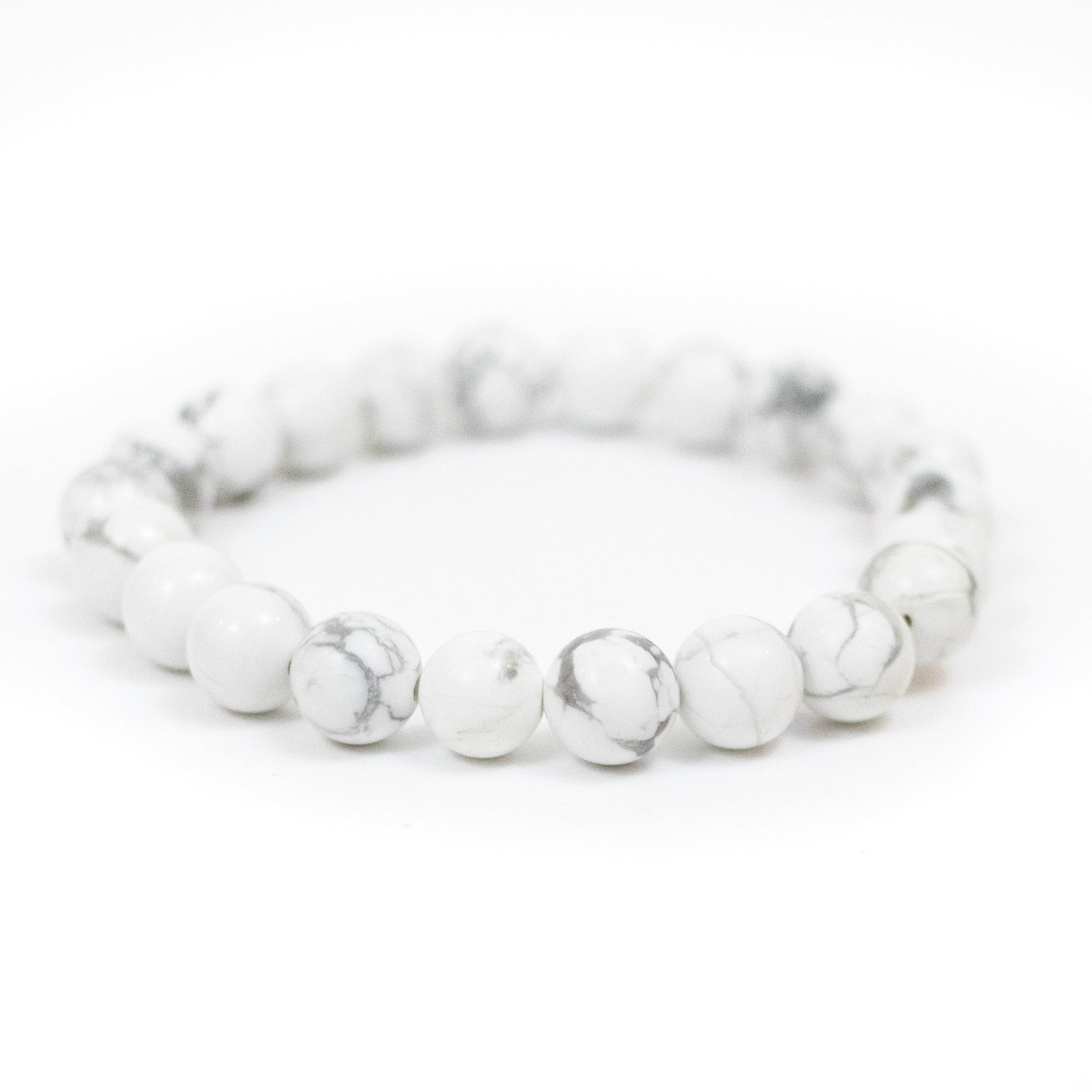 Natural White Howlite Beaded Healing Bracelet