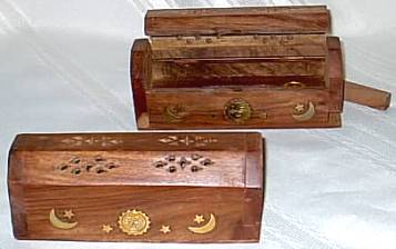 "Celestial Inlaid Wood Incense Box Burner 6""L"