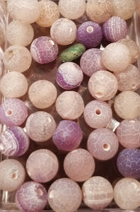 6mm Lavender Crackle Agate Round Gemstone Bead