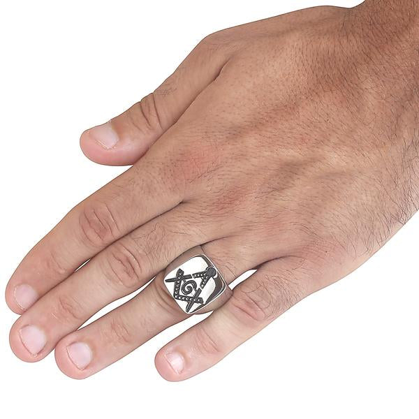 West Coast Jewelry - 20.2 MM Men's Stainless Steel Polished Masonic Ring