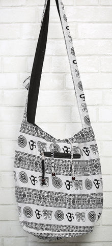 Black and White Om Mantra Tote Bag