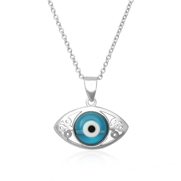 Evil Eye Pendant Sterling Silver Necklace