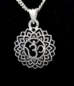 "Flower Om Pendant 1""Round on Silver Color 18 inch Chain"