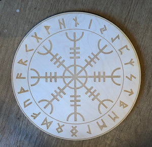 Helm of Awe 4 inch Wood Crystal Grid