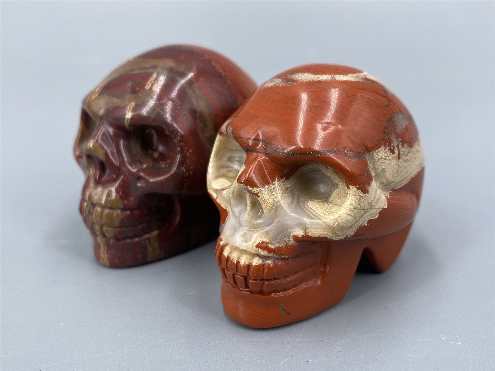 Small Fancy Jasper Carved Skull