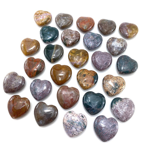 Ocean Jasper Hearts 1.5 Inches - 2 Inches