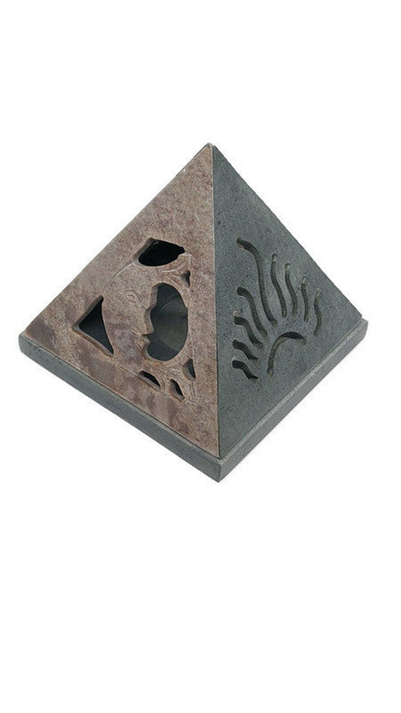 Pyramid Cone Burner Sun and Moon 4.5X4 Inches