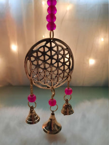 Brass wind Chimes with Bells Flower of life Design