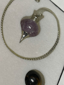 Multiple 3 Stone Pendulum w/ Rose Quartz, Amethyst, & Tigers Eye