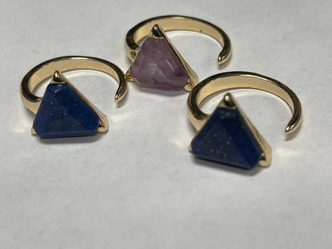 Gold Filled Adjustable Triangle Gemstone Ring