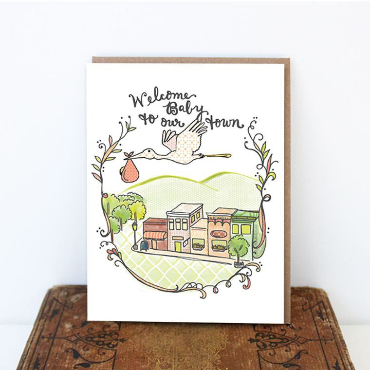 Town Baby Card - new baby card, baby shower, hand drawn illustration, cynla card