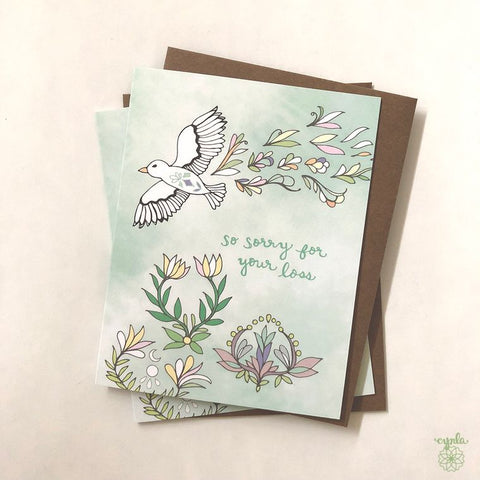 Sympathy card - So sorry for your loss bird