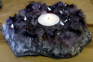 Natural Stone 6 inch Amethyst Candle Votive Holder