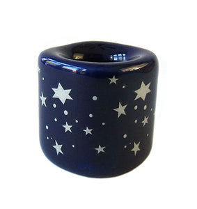Ceramic Chime Candle Holder Blue with Silver stars 5/8""