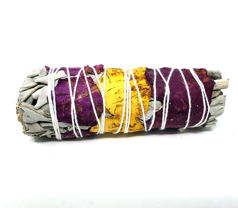multi color rose petal and white Sage Smudge Stick 4 inch