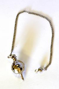 Silver plated round Pendulum w/Chain