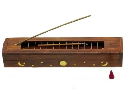Wood all incense burner with storage 12""