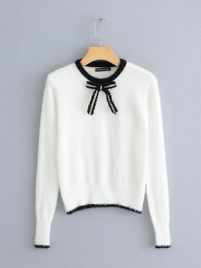 Trim Fuzzy Jumper with Bow Front