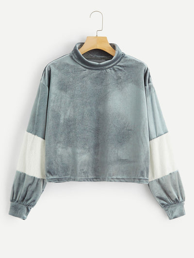 Mock-Neck Velvet Pullover with Drop Shoulder