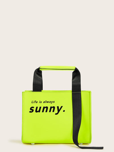 Neon Lime Slogan Print Bag With Inner Pouch