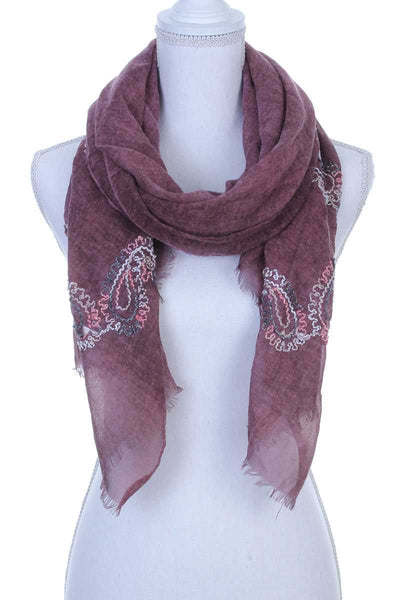 Sheer embroidered oblong scarf