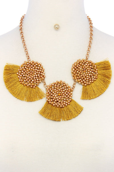 Multi pattern fashion necklace and earring set