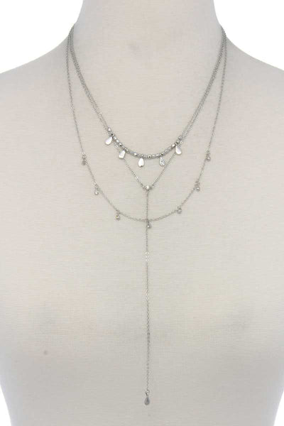 Hammered Teardrop Shape Dangle Layered Necklace