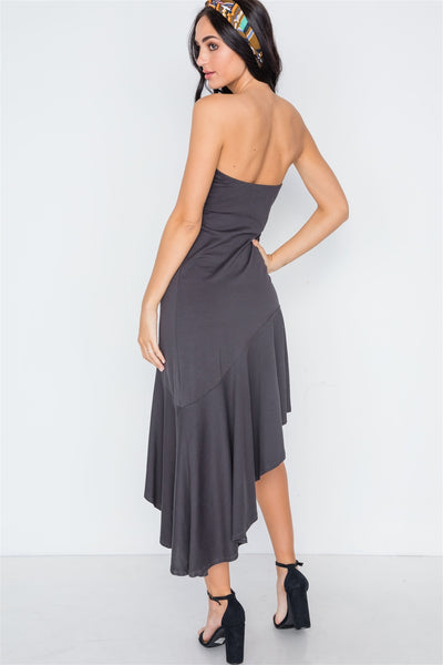 Strapless Flounce Hem Solid Dress