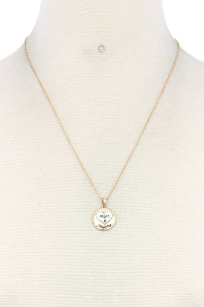 Mom Daughter Heart Round Charm Necklace