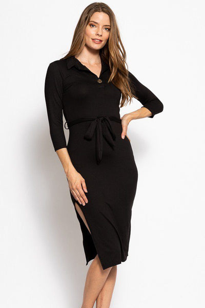 Midi Tee Dress Collared With V Neckline