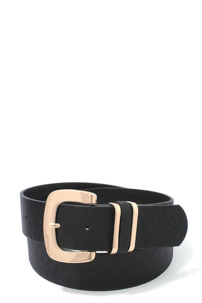 Metallic Buckle PU Leather Belt