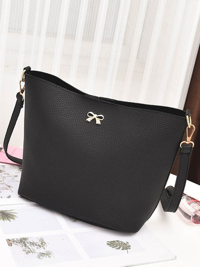 Metal Bow Detail PU Combination Bag