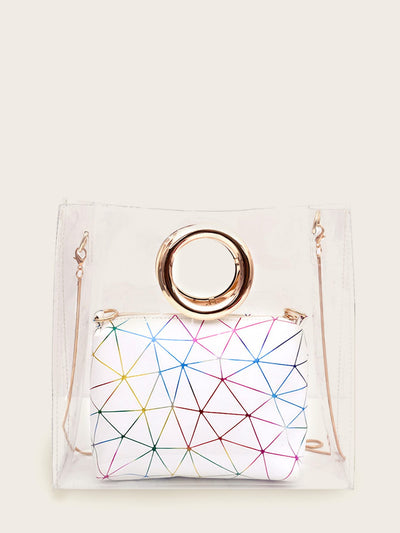 Clear Bag With Geometric Print Inner Clutch