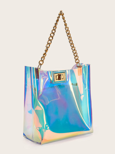 Iridescence Chain Tote Bag With Inner Pouch