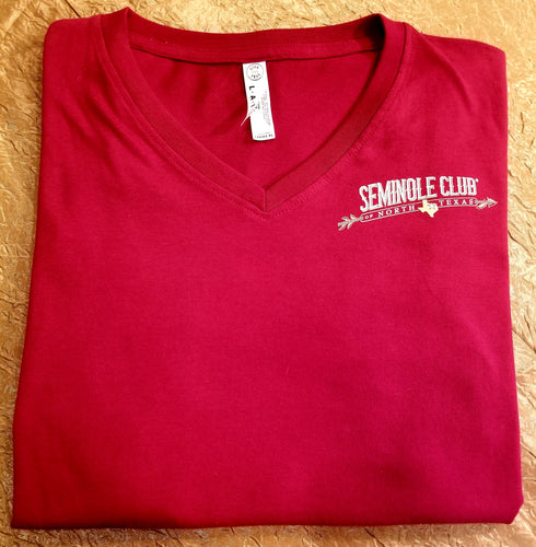 Ladies Garnet V-neck Texas Outline Short Sleeve