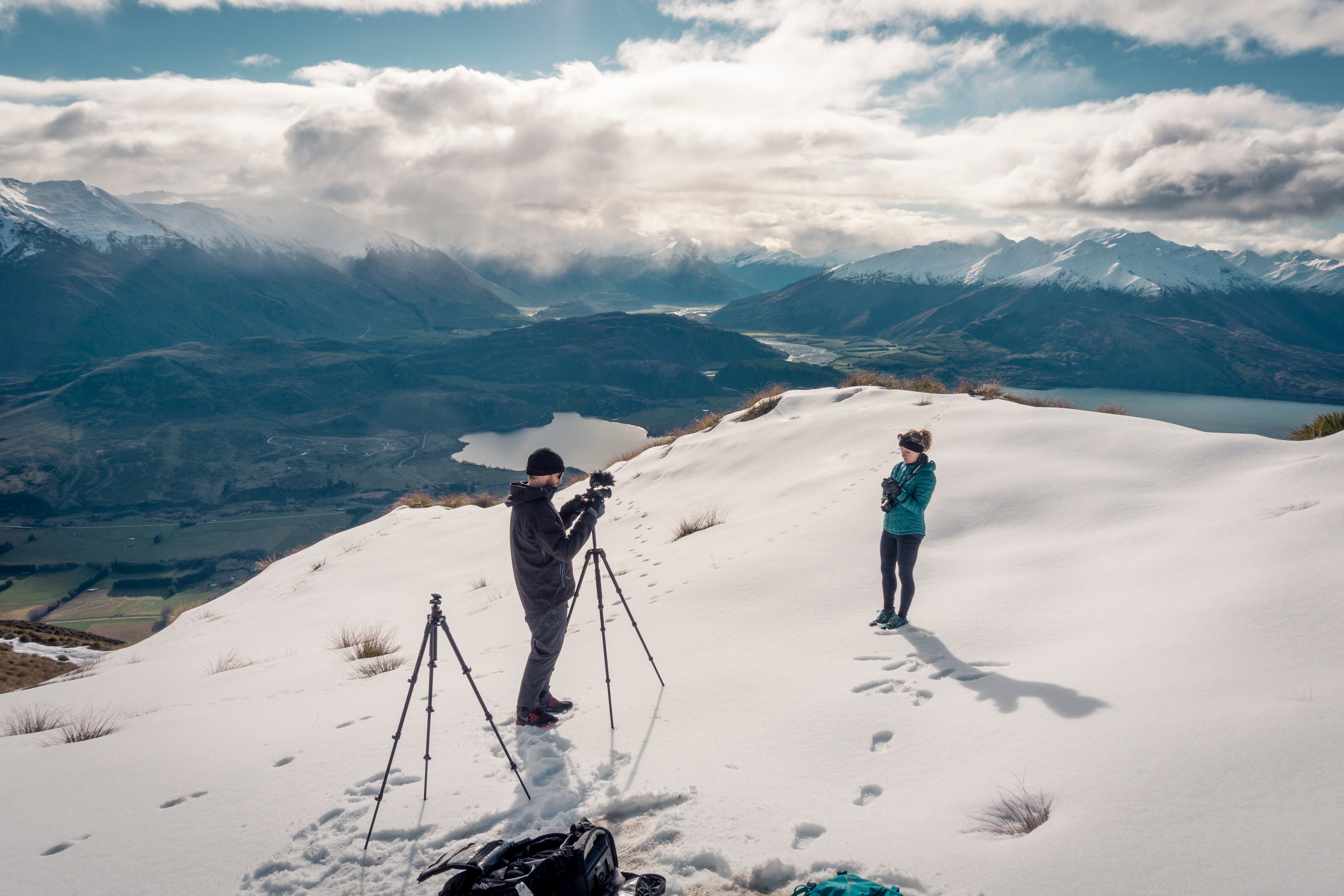 filming on top of a mountain