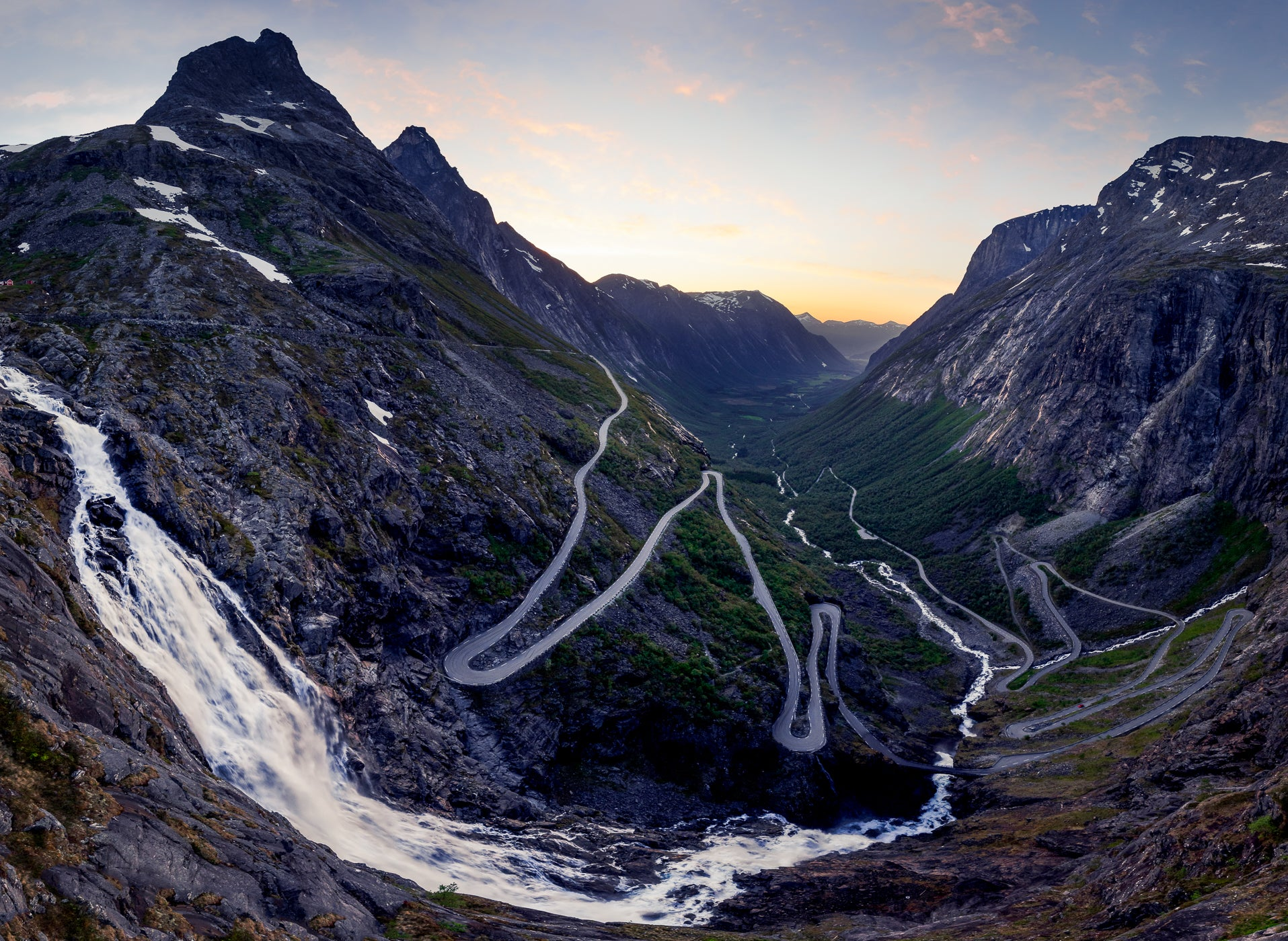 Norway road with switchbacks