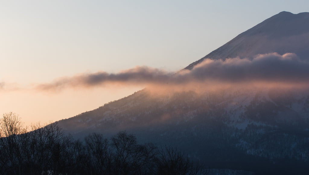 foggy wintry mountain japan