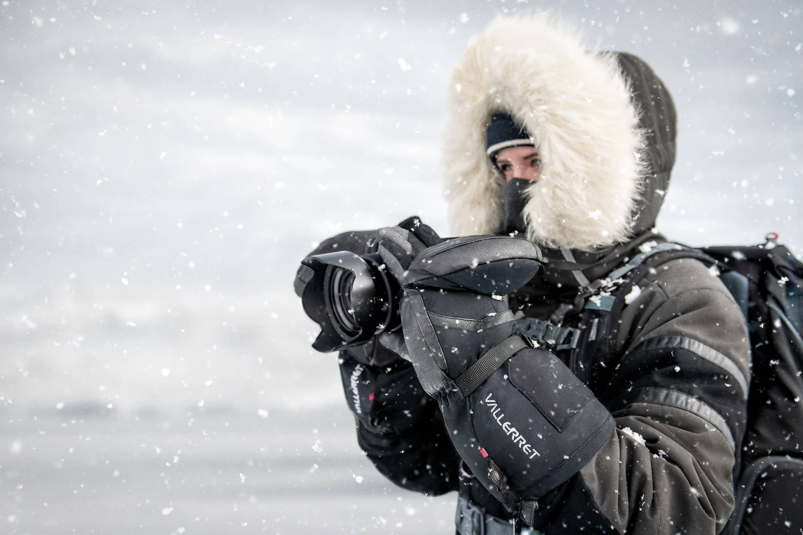 photographer in arctic conditions
