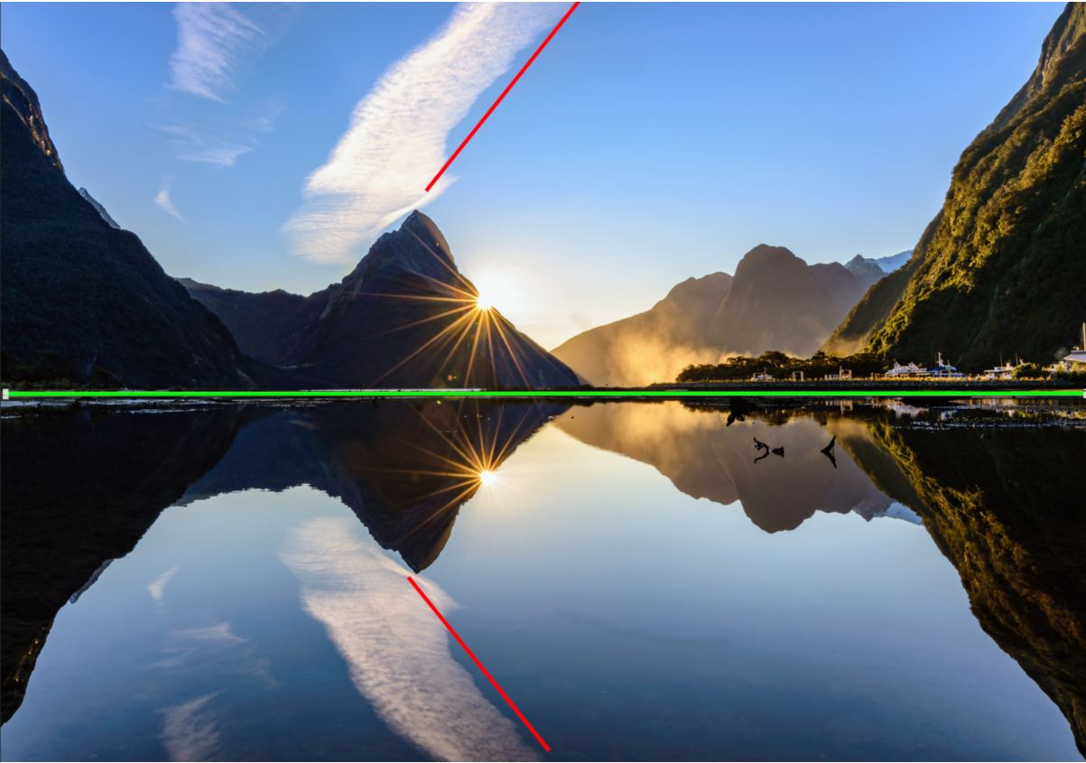Photogragraphy Composition of Mitre peak, Milford sound NZ