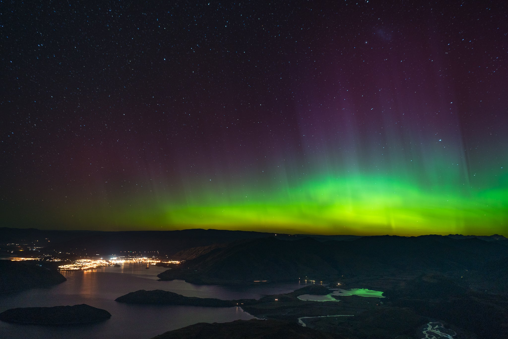 Green Southern Lights over New Zealand